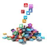 Stapel sociale netwerkpictogrammen Royalty-vrije Stock Fotografie
