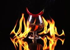 Stapel Tequila auf Feuer Stockbild