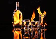 Stapel Tequila auf Feuer Stockfotos
