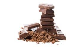Stapel unterbrochene Schokolade trennte Stockfoto