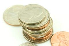Stapel US-Münzen. lizenzfreie stockfotografie