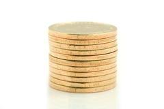 Stapel US-Münzen. Stockfotografie