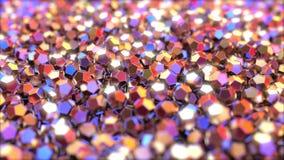 Stapel van abstracte regelmatige dodecahedron metaalstukken die op rode en blauwe kleuren wijzen stock footage