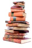 Stapel van antieke leerboeken Stock Foto