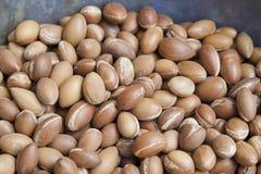 Stapel van argan zaden bij een Marokkaanse landbouwers` s markt, in Marrakech stock afbeelding