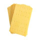 stapel van beboterd die brood op wit wordt geïsoleerd stock afbeeldingen