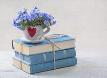 Stapel van blauwe boeken stock fotografie