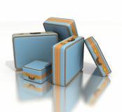 Stapel van blauwe en bruine uitstekende bagage Stock Foto's