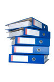 Stapel van blauwe ringsbindmiddelen. Stock Fotografie