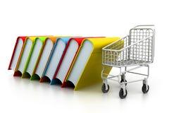 Stapel van boeken en karretje Stock Afbeeldingen