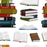 Stapel van boeken naadloos patroon Achtergrond voor Minnaar van literatuur Open Encyclopedie?n voor lezing Omgekeerde pagina's vector illustratie