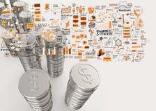 Stapel van 3d het teken van de muntstukkendollar Royalty-vrije Stock Afbeeldingen