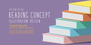 Stapel van de banner vlakke vector van de boekenrubriek Stock Foto's