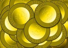 Stapel van de Gouden Muntstukken van Bitcoin Royalty-vrije Stock Foto's