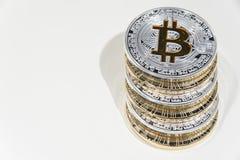 Stapel van de muntstukken van BTC Bitcoin Stock Foto's