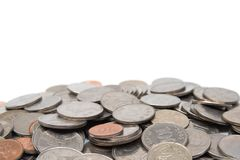 Stapel van de muntstukken van Zuid-Korea met exemplaarruimte stock fotografie