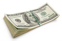 Stapel van de rekening van Honderd Dollars Royalty-vrije Stock Foto