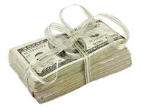 Stapel van de Rekeningen van $100 Dollars die met een Lint worden gebonden Stock Afbeeldingen