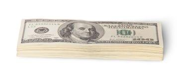 Stapel van de Rekeningen van Honderd Dollars Royalty-vrije Stock Fotografie