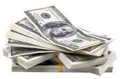 Stapel van dollars Stock Foto's