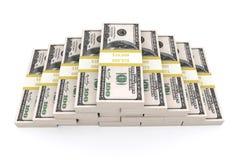Stapel van 100 dollars de V.S. op witte achtergrond Stock Afbeeldingen