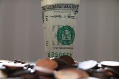 Stapel van 1 Dollarsbankbiljetten stock foto