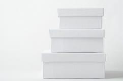 Stapel van Drie Duidelijke Witte Dozen met Deksels Royalty-vrije Stock Fotografie