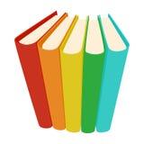 Stapel van drie gekleurd boekenpictogram, beeldverhaalstijl Stock Afbeelding