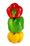 Stapel van drie groene paprika's stock foto's