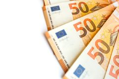 Stapel van 50 euro als dichte omhooggaand als achtergrond stock foto's