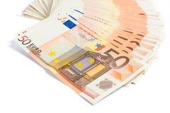 Stapel van euro bankbiljetten Stock Foto