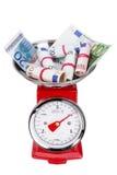 Stapel van euro geld op schalen Inflatie in het Euro-gebied Royalty-vrije Stock Afbeelding