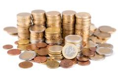 Stapel van Euro muntstukken Stock Foto's