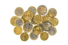 Stapel van Euro muntstukken, hoogste-mening royalty-vrije stock foto's