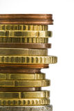 Stapel van euro muntstukkenmacro Royalty-vrije Stock Afbeelding