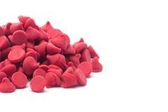 Stapel van Gastronomisch Rood Cherry Baking Chips royalty-vrije stock afbeelding