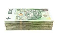 Stapel van geïsoleerdc poetsmiddel zloty Royalty-vrije Stock Afbeelding