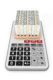 Stapel van Geld over Calculator het 3d teruggeven Stock Foto