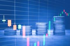 Stapel van geldmuntstuk met het uitwisselen van grafiek, financieel investeringsconcept royalty-vrije stock foto's