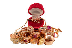 Stapel van Gouden Juwelen Royalty-vrije Stock Foto's