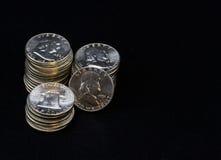 Stapel van Halve Dollarmuntstukken Royalty-vrije Stock Foto