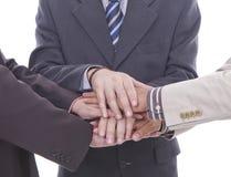 Stapel van handen die op wit worden geïsoleerdn royalty-vrije stock foto