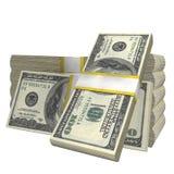 Stapel van het geldbankbiljet van de 100 de rekeningsv.s. van het Dollarsbankbiljet op een witte achtergrond vector illustratie
