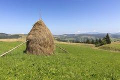 Stapel van hooi op een bergweide op een helling Stock Afbeelding