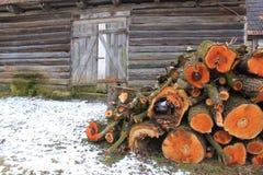 Stapel van hout dichtbij oud plattelandshuisje Stock Fotografie
