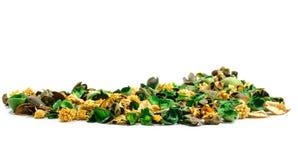 Stapel van inhoud van aromatisch sachet van droge delen van kruidig haar Royalty-vrije Stock Foto