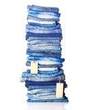 Stapel van jeans met markeringen royalty-vrije stock fotografie