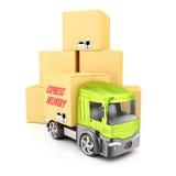 Stapel van kartondozen en vrachtwagen Stock Afbeeldingen