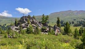 Stapel van keien op de helling van de bergen van Altai Krai Stock Afbeeldingen