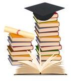 Stapel van kleurrijke boeken en graduatie GLB. royalty-vrije illustratie